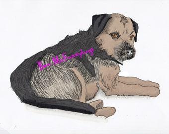 Border Terrier Portrait, benutzerdefinierte digitale Hund zeichnen, personalisierte Border Terrier Hund Kunst, Skizze Ihres Hundes, Promarker Digital Hund zeichnen