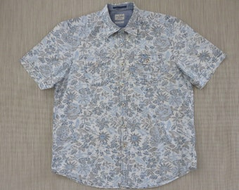 TOMMY BAHAMA Shirt JEANS Island Crafted Details Vintage Inspired Techno Floral Print Modern Fit 100% Cotton Men - L - Oahu Lew's Shirt Shack