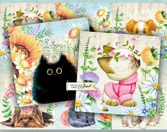 Sweet Animals - set of 6 cards - digital collage sheet - Printable Download