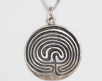 Sterling Silver Abstract Maze Pendant on SIlver Chain/ Necklace