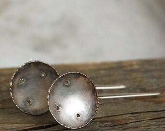 simple silver earrings, oxidized silver earrings