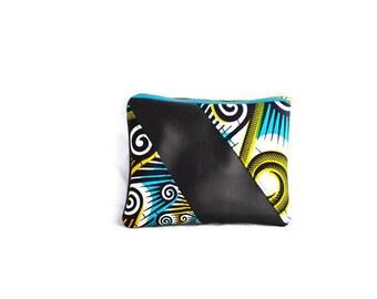 Faux Leather Clutch, African Clutch, Foldover Clutch, Ankara Clutch, Leather and Fabric Clutch, African Fashion, Blue Clutch, Black Clutch