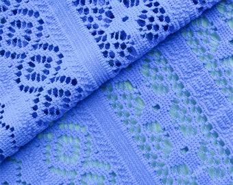 Blue Stripe Crochet Lace, Fabric By The Yard