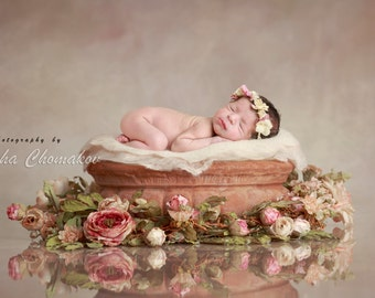 Digital backdrop newborn girl flowers pink peach