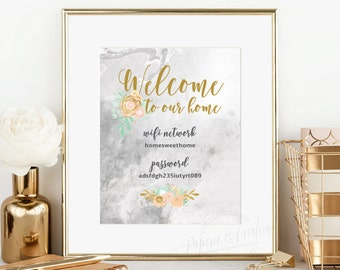 Welcome To Our Home Wifi Password Sign - Marble and Gold  - Wall Print Decorations - Home Editable PDF File Edit yourself  Instant Download