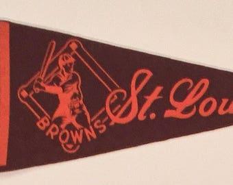 1950's St Louis Browns Keezer brand Baseball Mini Pennant - Mint - Antique Baseball Memorabilia