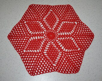 Handmade doily 29 cm, red, Hexagon crocheted with fine cotton