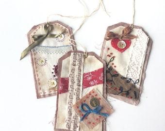 Labels textile - gift tags - scrap - Christmas labels