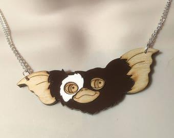 GIZMO!  layered acrylic/birchwood pendant