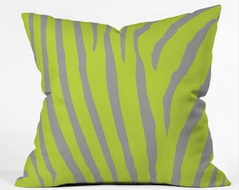 Throw Pillow, Zebra, Animal Print, Striped, Chartreuse, Gray, Citrus, Lime, Green, Bedroom, home decor, Couch, chair, pillow, color