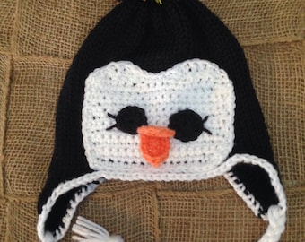 Penguin hat with earflaps