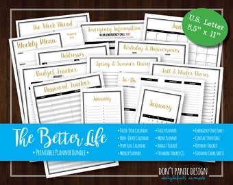 The Better Life Binder: Modern Printable Home Organizing Bundle - Printable Daily, Weekly, Monthly, Budget Goals Planner - Instant Download