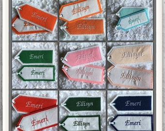 2 Personalized Embroidered Christmas Stocking Name Tags, Fabric Embroidered Gift Tag, Reusable Embroidered Gift Tag