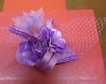 Lilac and purple fascinator