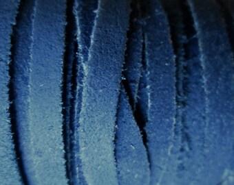 1 meter of 5mm blue flat suede cord