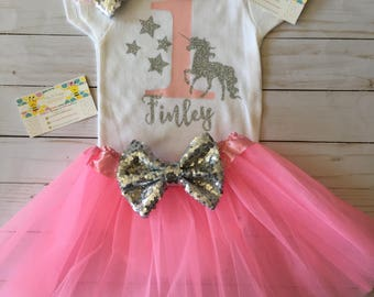 Unicorn Birthday Tutu, Unicorn Tutu Outfit, Unicorn Birthday Tutu Set, Unicorn Birthday Shirt, Unicorn Onesie, Unicorn Birthday- SS4