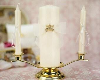 Elegant Fairy Tale Cinderella Coach Wedding Unity Candle Set (Silver/Gold) - 35220/35221