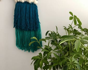 Water Lily // Woven Wall Hanging // Weaving // Frame Loom Weaving // Gifts for Her