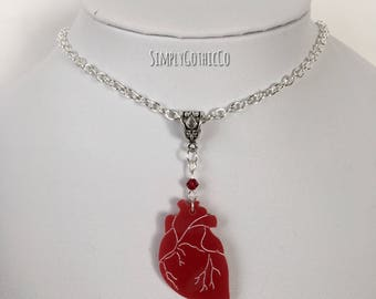 Gothic Valentines Heart Necklace- LAST ONE