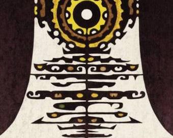 Woodblock Print 'Gagaku' by-Toshi-Yoshida