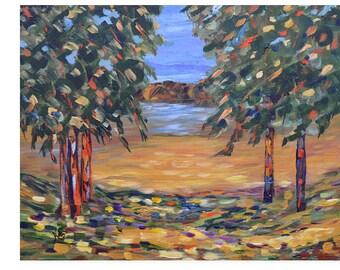 Original Painting, Fine Art, Colorful painting, Impressionism Art, Landscape Painting, 16x20, Acrylic