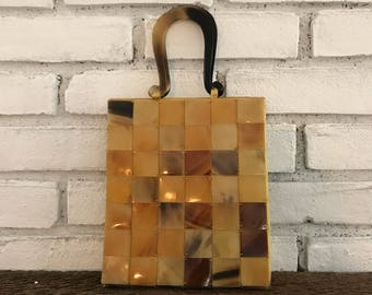 Vintage Lucite Handbag. Tortoiseshell Lucite Tile Purse. Evening Bag. Handbag. Vintage Fashion Accessory. Gift for Her. Circa 1970.