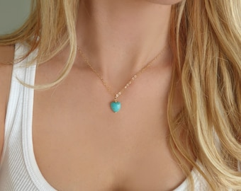 Turquoise Heart Necklace, Tiny Turquoise Necklace, Turquoise Pendant Necklace, Small Turquoise Heart, Tiny Heart Pendant Jewelry Gift