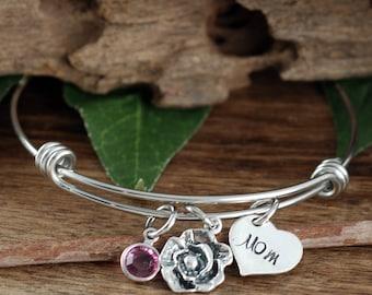 Silver Mom Bracelet, Gift For Mom, Mothers Bracelet, Silver Rose Bracelet, Mothers Day Gift, New Mom Bracelet, Personalized Mom Gift