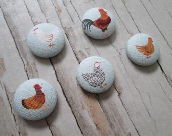 Chicken print fridge magnets, gift, farm, magnets set, new home gift, housewarming, fridge magnets, farm lover gift, chicken lover gift