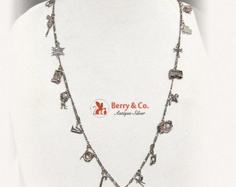 SaLe! sALe! Western Charm Necklace 17 Charms Sterling Silver 1960
