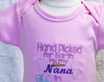 Handpicked, Baby girl bodysuit, pink, baby shower gift, baby girl gift, baby girl clothes, baby coming home, take me home, Nana, angel wings