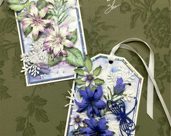 Two Piece Large 3D Floral Gift Tag Set