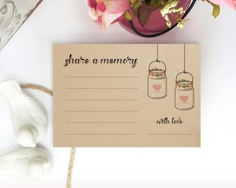 Share a memory cards | Pack of 50 | Rustic cards for bridal shower party | Share a memory cards printed on kraft paper | Mason jar cards