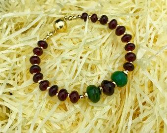 Garnet & Aventurine Fleur de lis Gold bracelet 'Size 19cm'