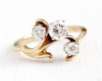 Sale - Vintage Diamond Ring - 14k Yellow Gold 3 Diamond Freeform  - Retro Size 7 Anniversary Engagement OEC Fine Jewelry w/ Appraisal