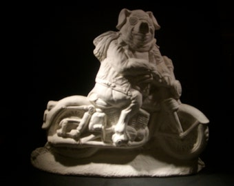 Hog on motorcycle-ceramic bisque-ready to paint
