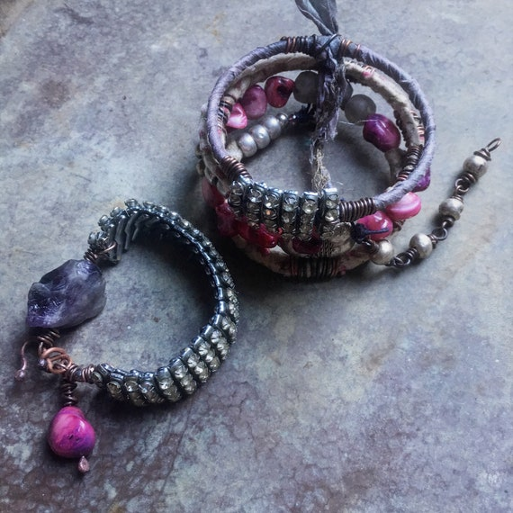 Boho bangle stack with amethyst, African beads | gypsy bangles, stacking bangles, boho bracelet set, upcycled jewelry, tribal gypsy bangles