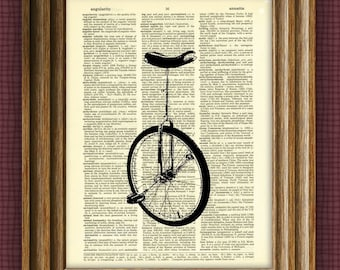 UNICYCLE bike beautifully upcycled vintage dictionary page book art print