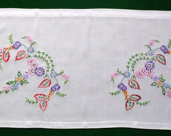 Vintage white cotton Window Panel flowers floral hand Embroidery curtain Valance
