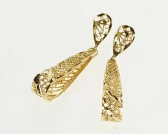 14K Textured Sprial Pattern Teardrop Dangle Earrings Yellow Gold