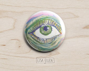Green Eye Badge - Illustration Pinback Button