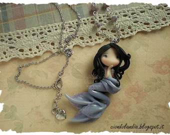 Mermaid princess doll necklace (Polymer clay)
