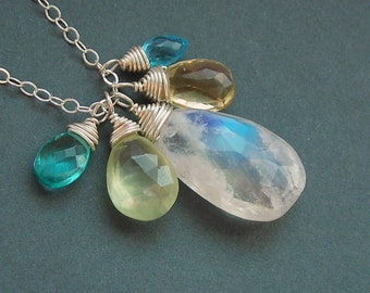 Sun on the Water Necklace - Apatite, Prehnite, Rainbow Moonstone, Yellow Aquamarine, Swiss Blue Topaz and Sterling Silver