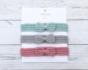 baby girl bow headbands, crochet baby headband set, baby pink headband, bow headwrap, grey pink green crochet headband
