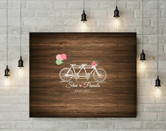 Wedding Tandem Bicycle Sign Guest Book | Rustic | Vintage | Spring Wedding | Anniversary Gift For Couple | For Her | Custom Canvas - 60577B