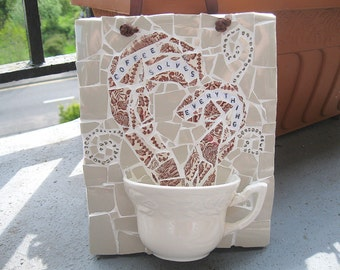 Shabby chic tea cup mosaic plaque - Coffee solves anything - Free post to the UK!