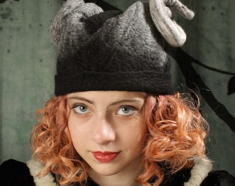 Black Rams Horn Cap - Hat With Horns - Curly Goat Horn Hat - Black Cap With Horns - Hand Felted Hat - Black Hat