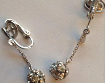 Vintage Crown Trifari Rondelle Rhinestone Drop Earrings