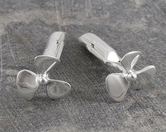 Handmade Cufflinks - Silver Cufflinks - Sterling Silver - Shirt Cufflinks - Propeller Cufflinks - Nautical Cufflinks - Boating Cufflinks