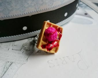 Square ring polymer clay Strawberry waffle ring